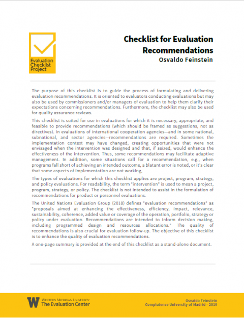 Checklist for Evaluation Recommendations
